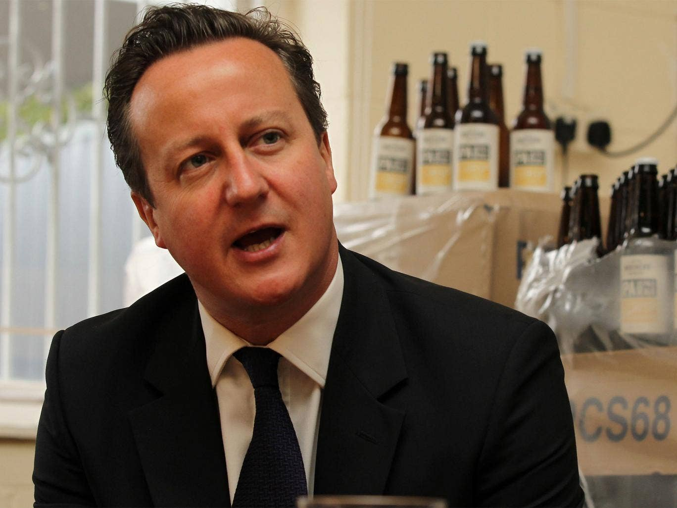 Prime Minister David Cameron during his visit to a small business start up, Seven Bro7hers brewery in Salford, on Wednesday