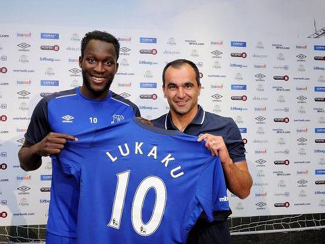 Romelu Lukaku is presented by Roberto Martinez as an Everton player following his £28m move