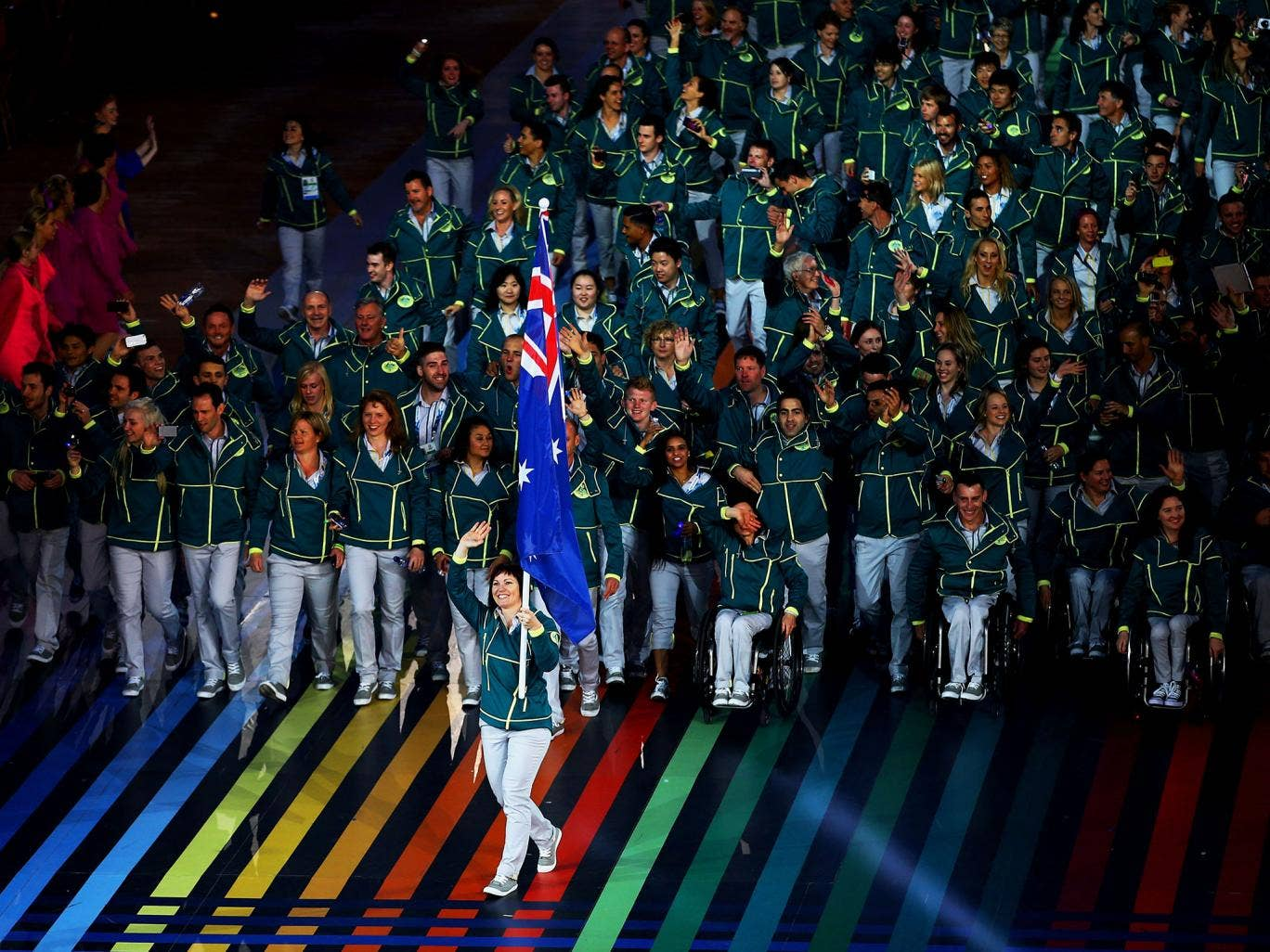 Team Australia arrive at the Commonwealth Games opening ceremony