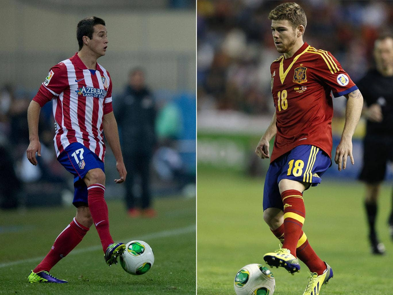Javier Manquillo (L) and Alberto Moreno (R) are closing in on a move to Liverpool