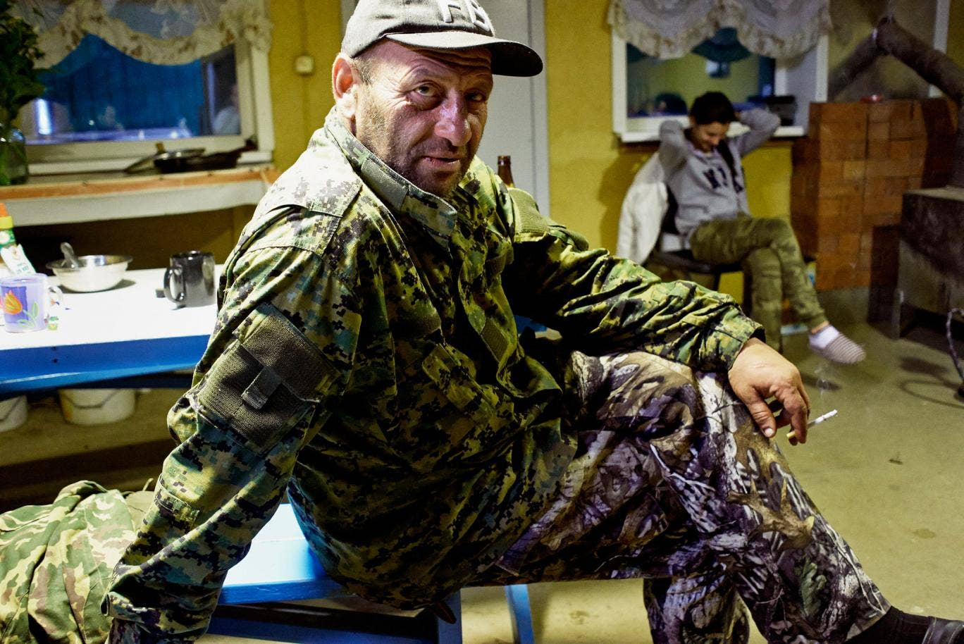 A Russian hunter at the Medved bear-hunting lodge in Siberia