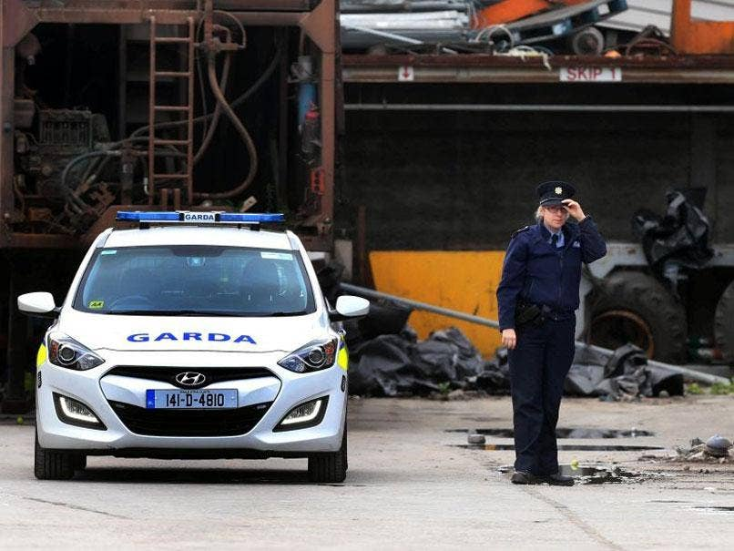 Gardai at the scene after a human leg was found at the Thornton's Recycling plant in west Dublin.