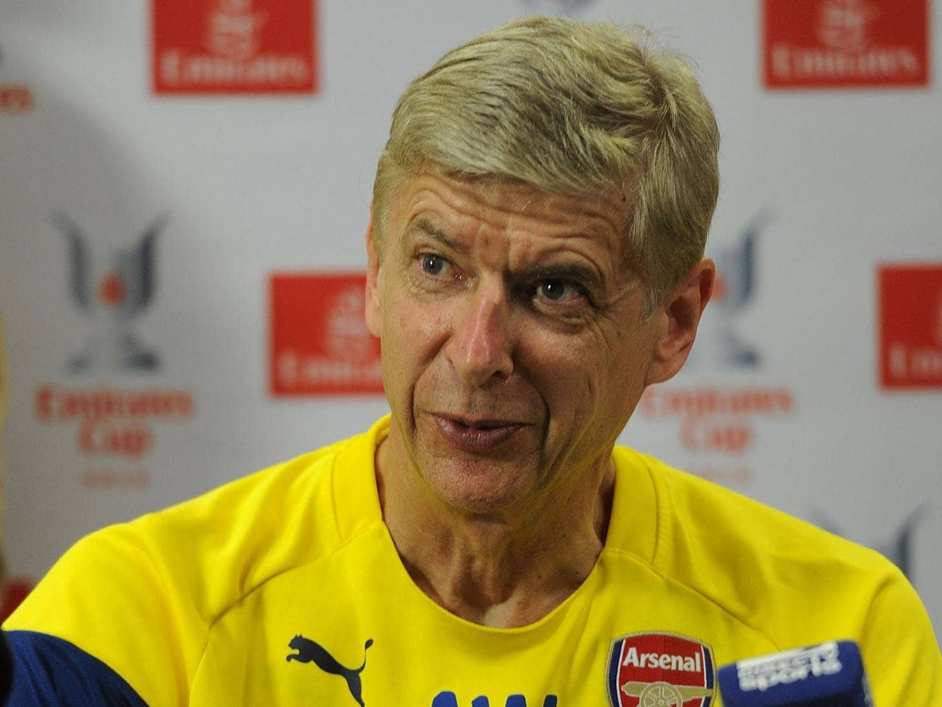 Arsene Wenger speaks to the press today ahead of the Emirates Cup