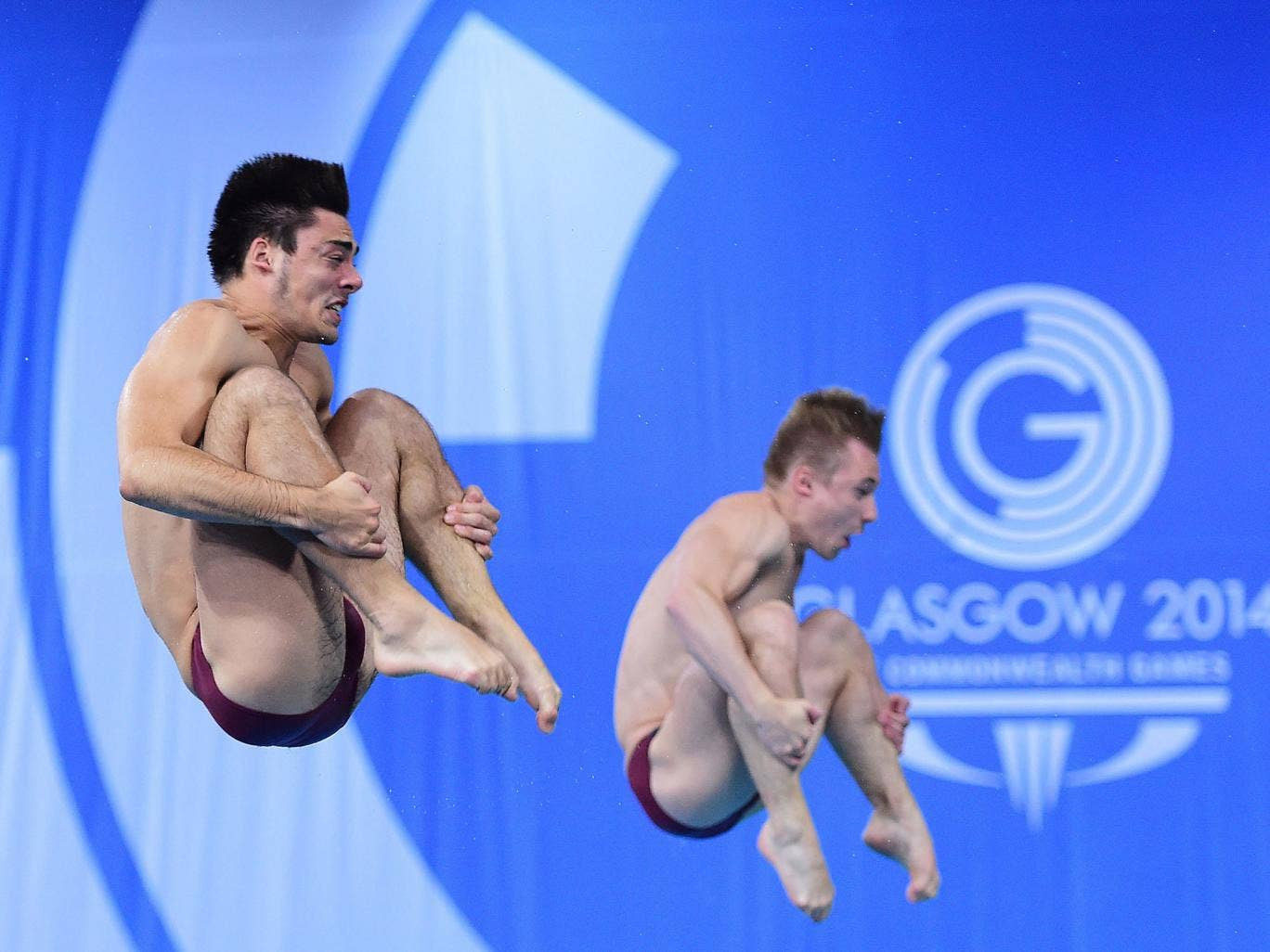 Jack Laugher and Chris Mears on their way to gold in the three-metres springboard yesterday