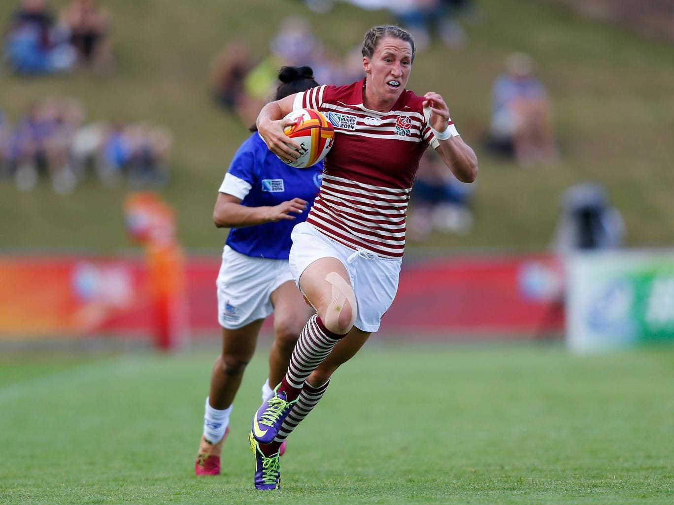 Kat Merchant showed some quick feet to score England's first two tries in the win over Samoa