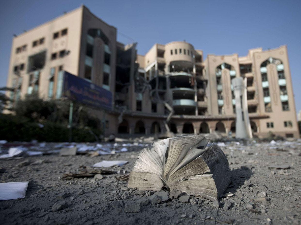 Damage at the Islamic University of Gaza on August 2, 2014 in Gaza City after it was hit in an overnight Israeli strike.