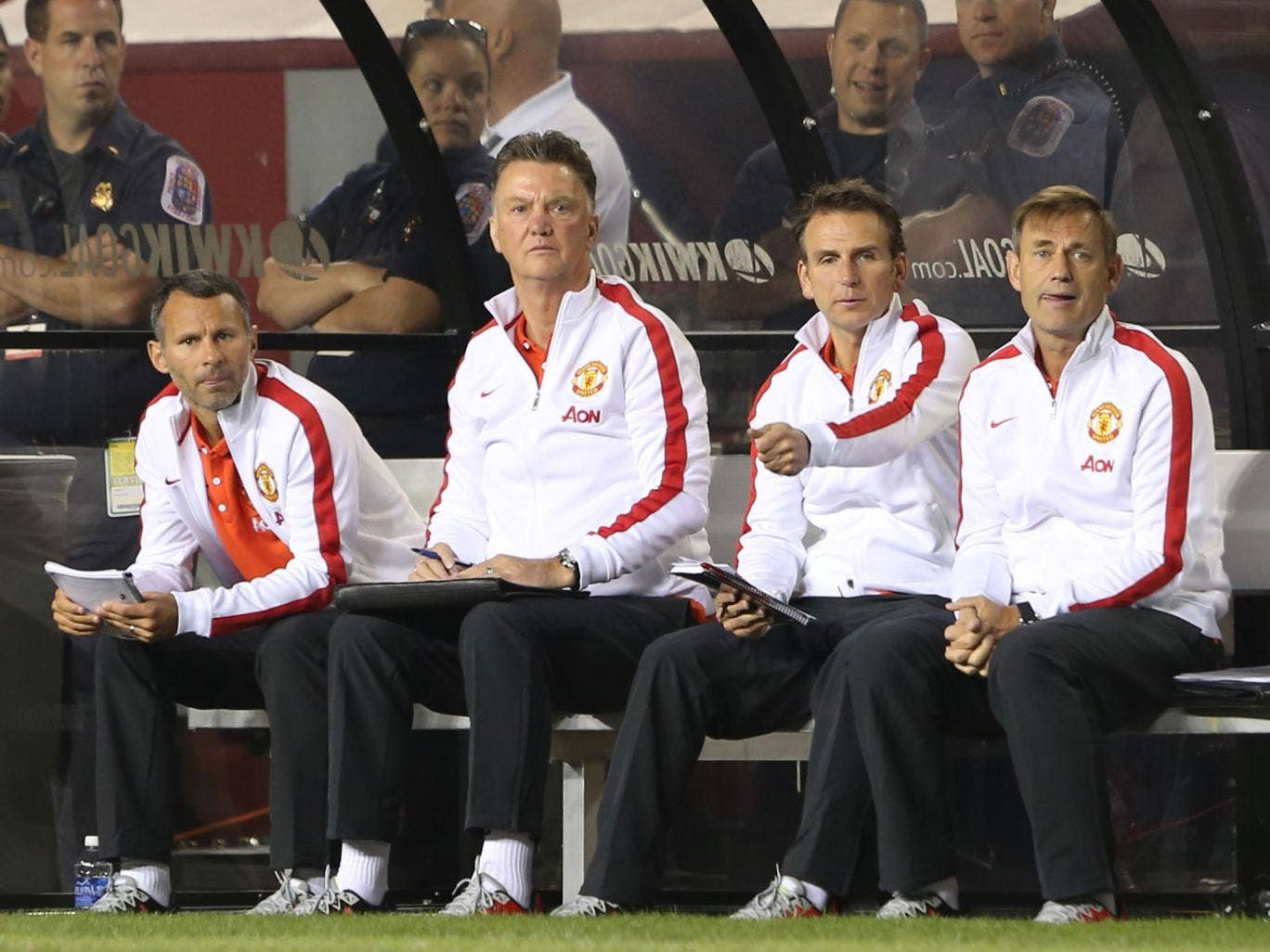 Louis van Gaal watches his Manchester United squad from the dug-out during the pre-season win over Roma