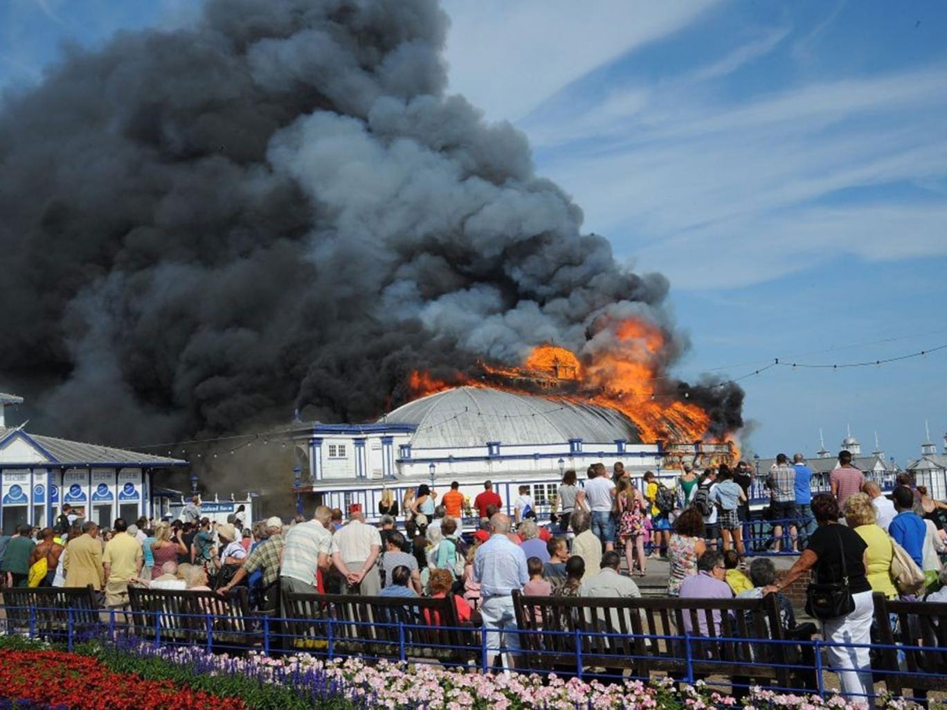Eastbourne pier ablaze earlier this week