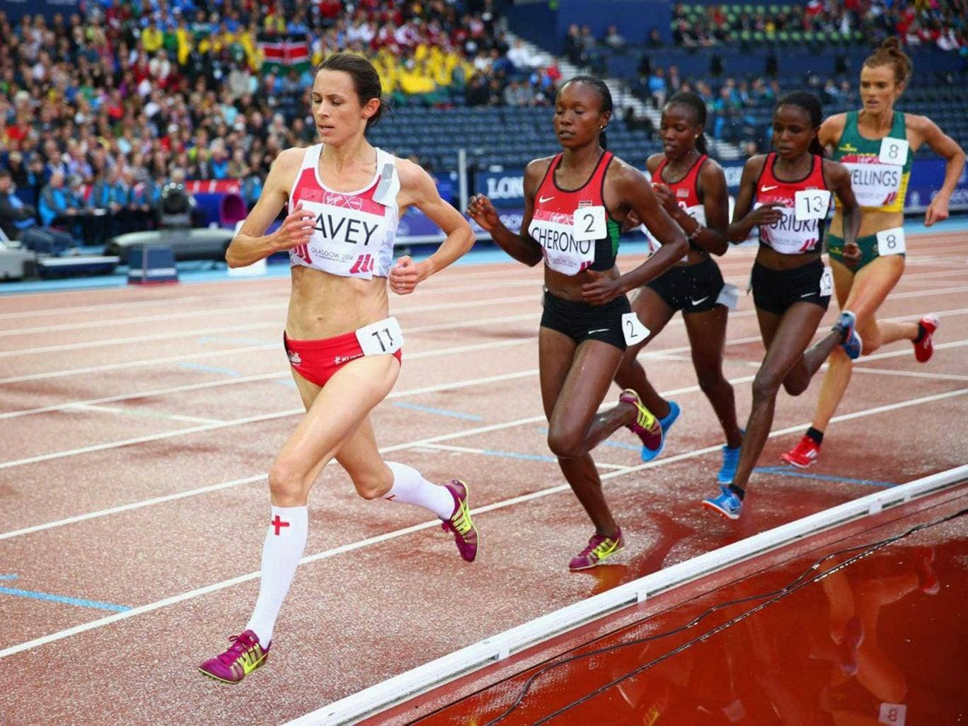 Leading lady: Jo Pavey sets the pace in the 5,000m before being overtaken by the Kenyans with 600 metres to go