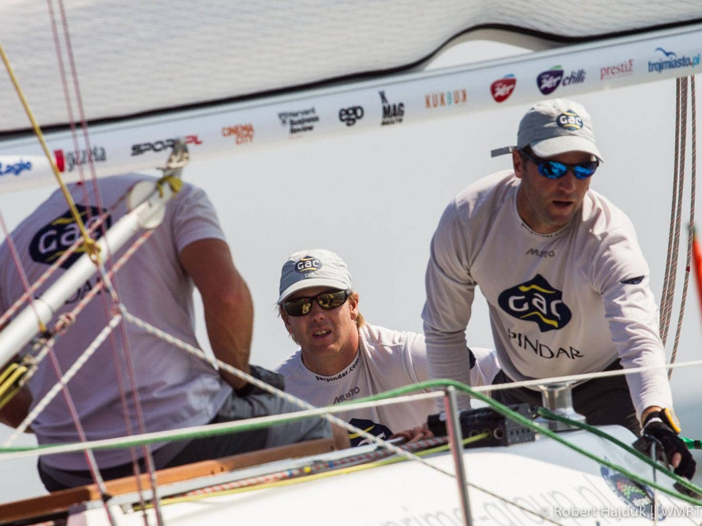 Ian Williams (centre) on his way to a GAC Pindar victory on the Alpari World Match Racing Tour in Poland