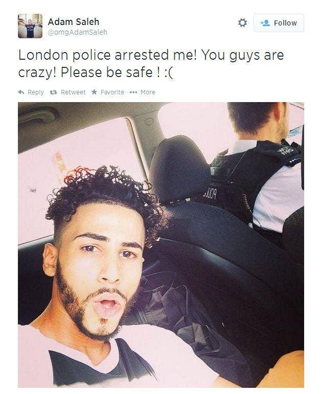 YouTube star Adam Saleh tweeted that he had been arrested in London
