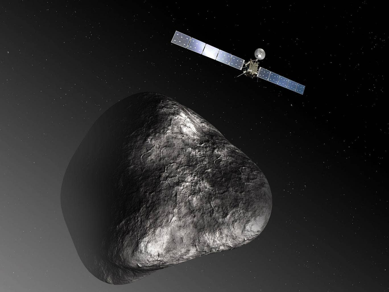 An artist's impression of the unmanned 'Rosetta', which is expected be the first spacecraft to land on the surface of a comet
