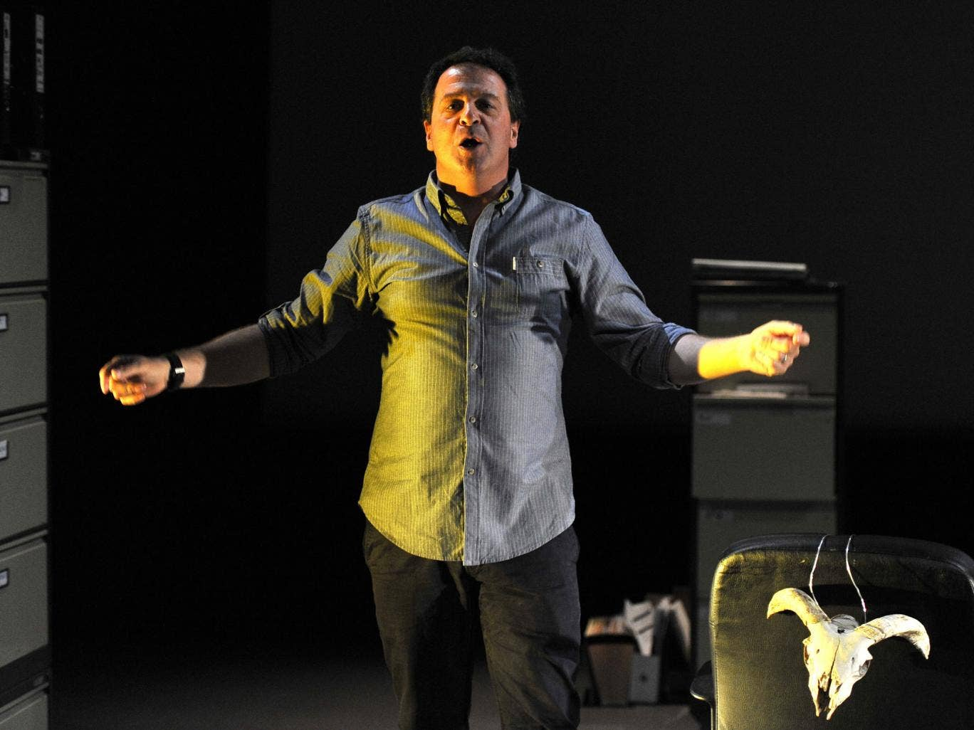 Mark Thomas in 'Cuckooed', directed by Emma Callander at the Traverse Theatre in Edinburgh
