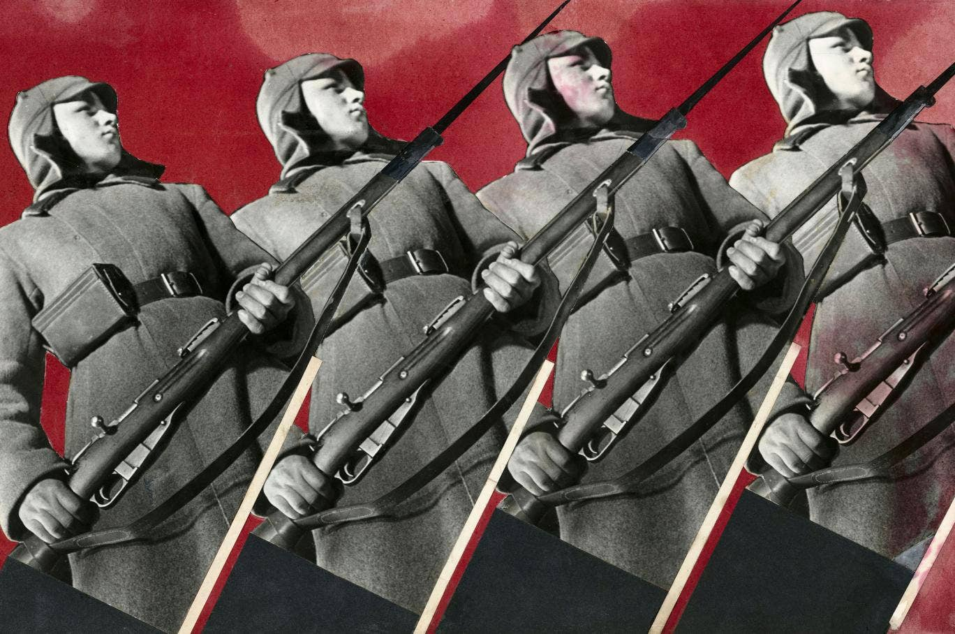 In the words of the curator Olga Sviblova: 'Soviet art was obliged to reflect Soviet myths about the happiest people in the happiest country on earth, and not real life.' Red Army Men, 1930