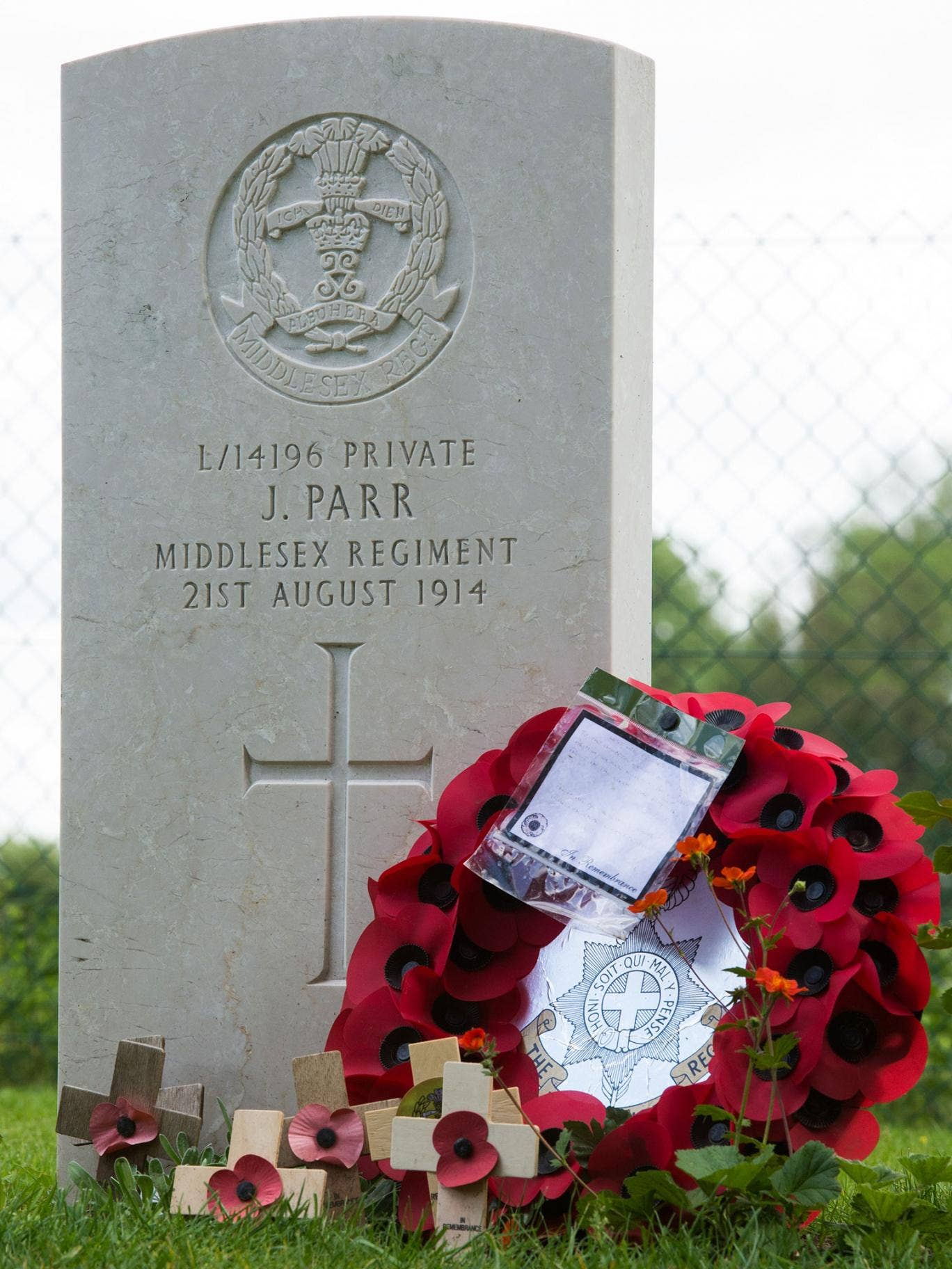 The grave in Saint Symphorien cemetery of Private John Parr, the first British soldier to be killed in action on the Western Front