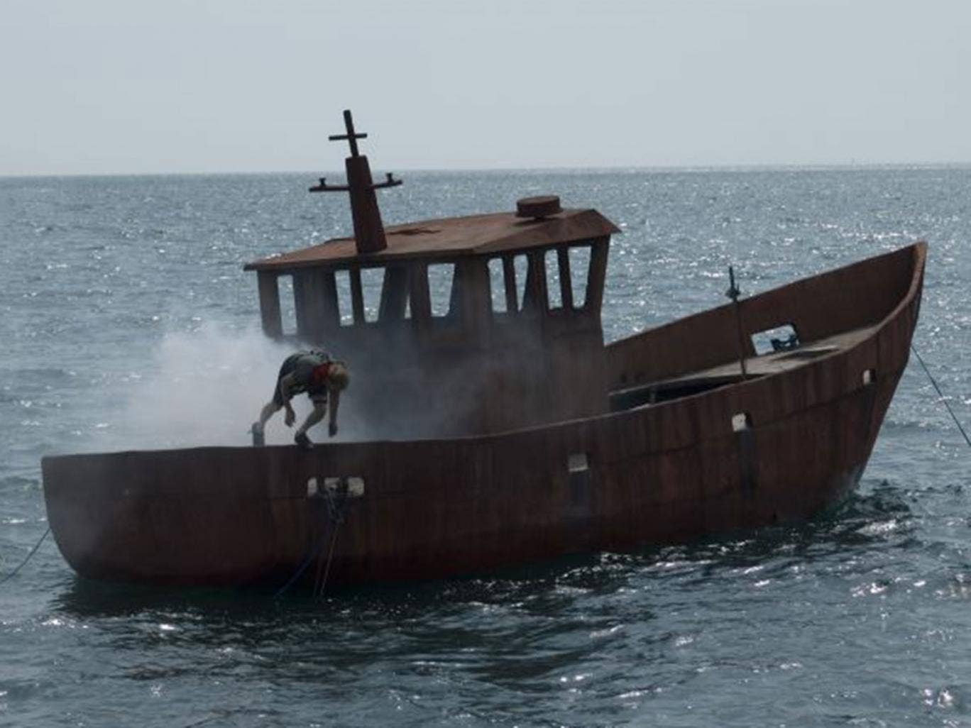 The small fishing vessel was towed out to sea and set alight. It will sink to the seabed to begin its eventual new life as artificial reef