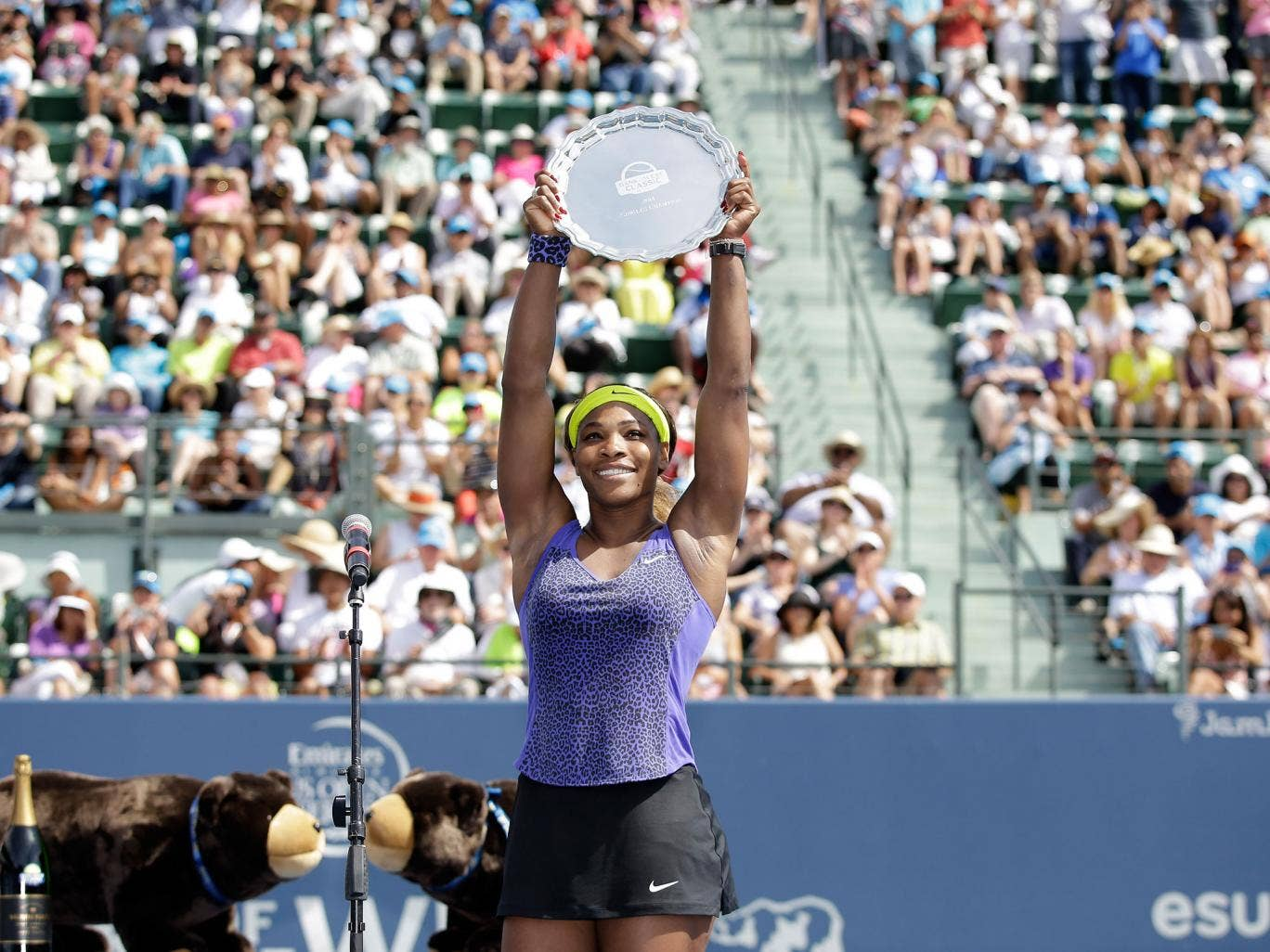 Serena Williams celebrates her 61st career title