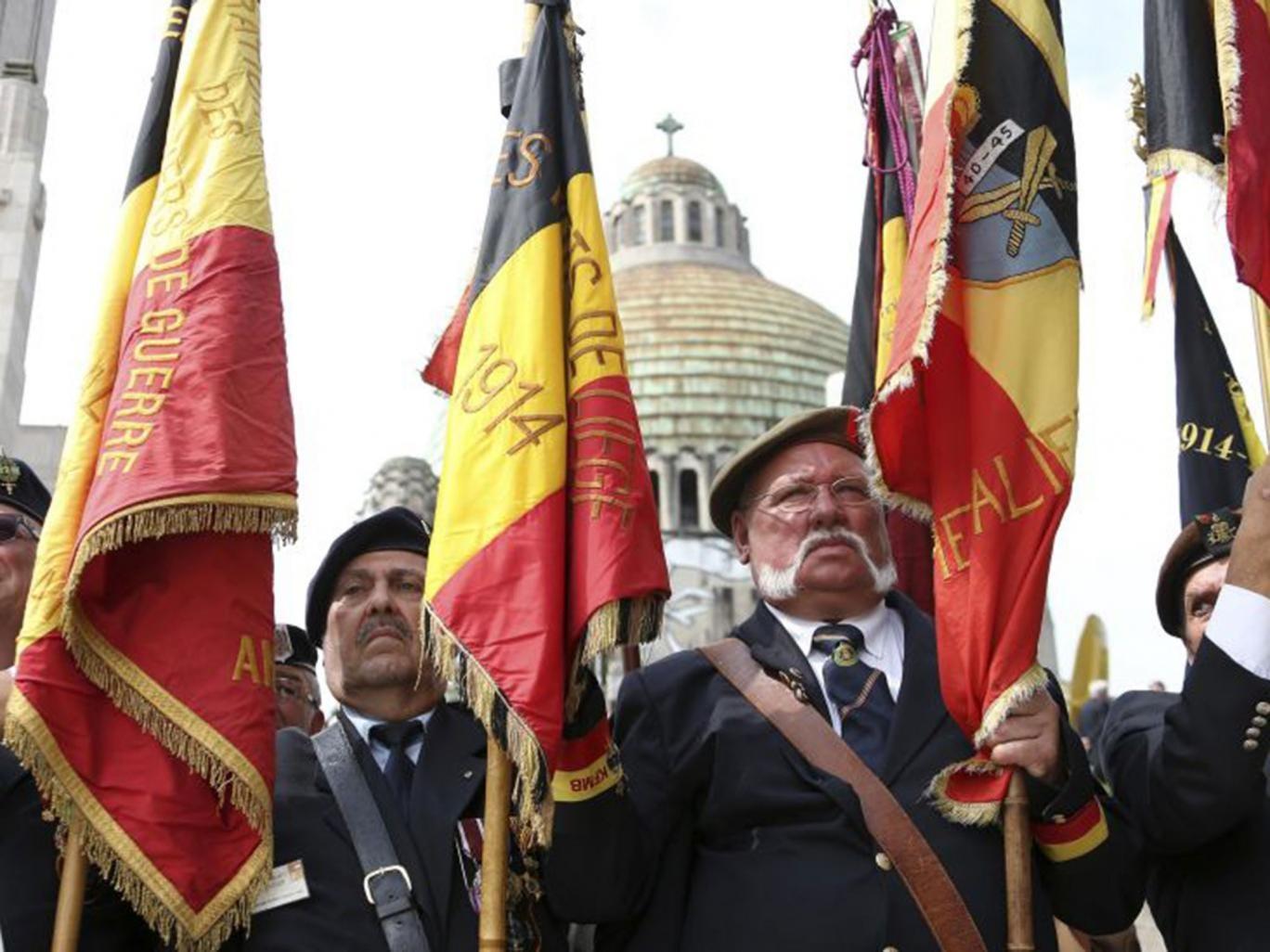 Veterans at the Allies memorial in Cointe, Belgium