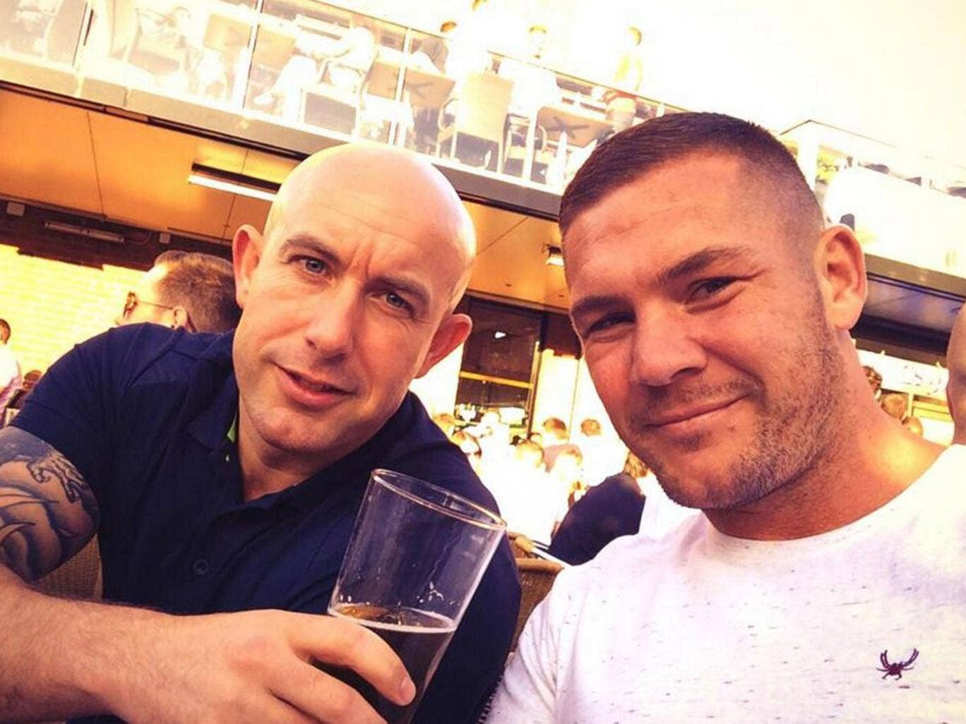 Retired boxer Jamie Moore (right) is in hospital after being shot in an apparent case of mistaken identity