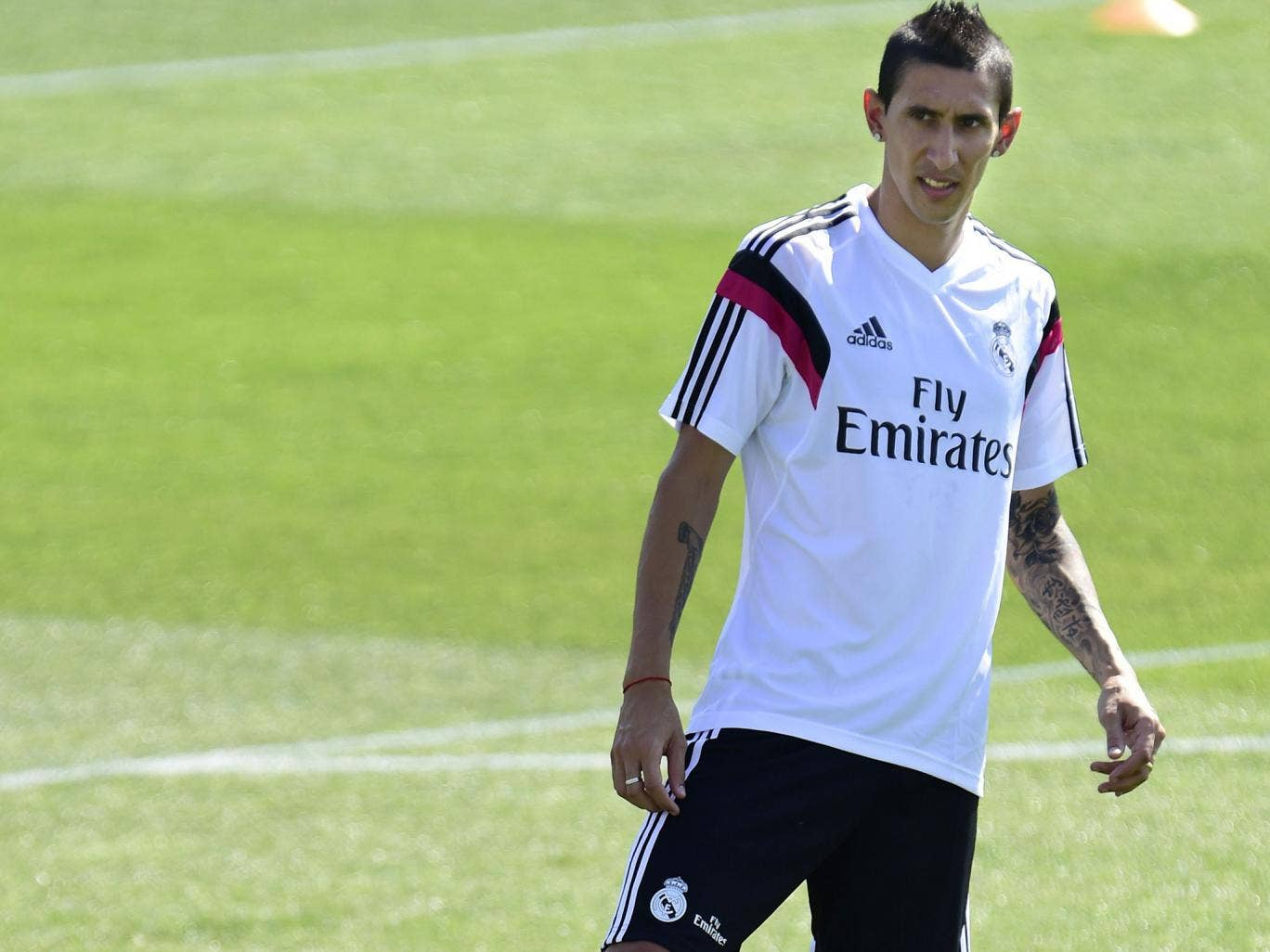 Angel di Maria pictured during training with Real Madrid today