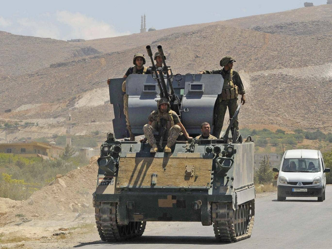Lebanese soldiers at the Sunni border town of Arsal