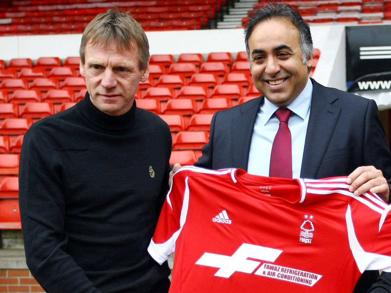 Stuart Pearce is unveiled as Forest manager by owner Fawaz al-Hasawi in happier times at the City Ground