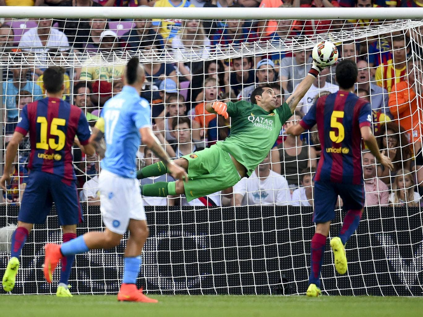 Barcelona keeper Claudio Bravo made one great save but was completely at fault for conceding against Napoli
