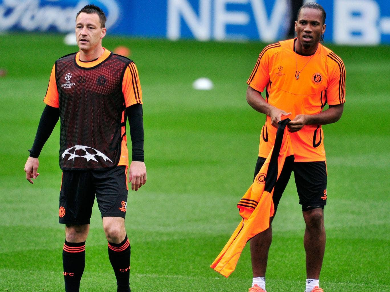 John Terry and Didier Drogba in training back in 2012