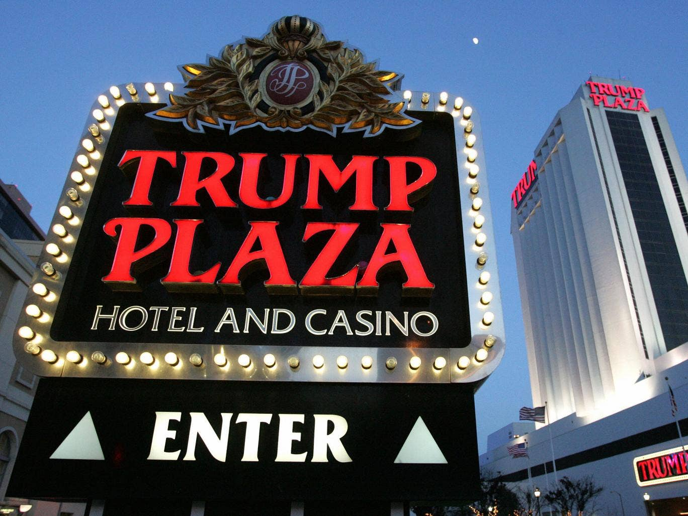 Donald Trump owns only a small stake in the Trump Plaza Hotel and Casino's parent company in Atlantic City, New Jersey