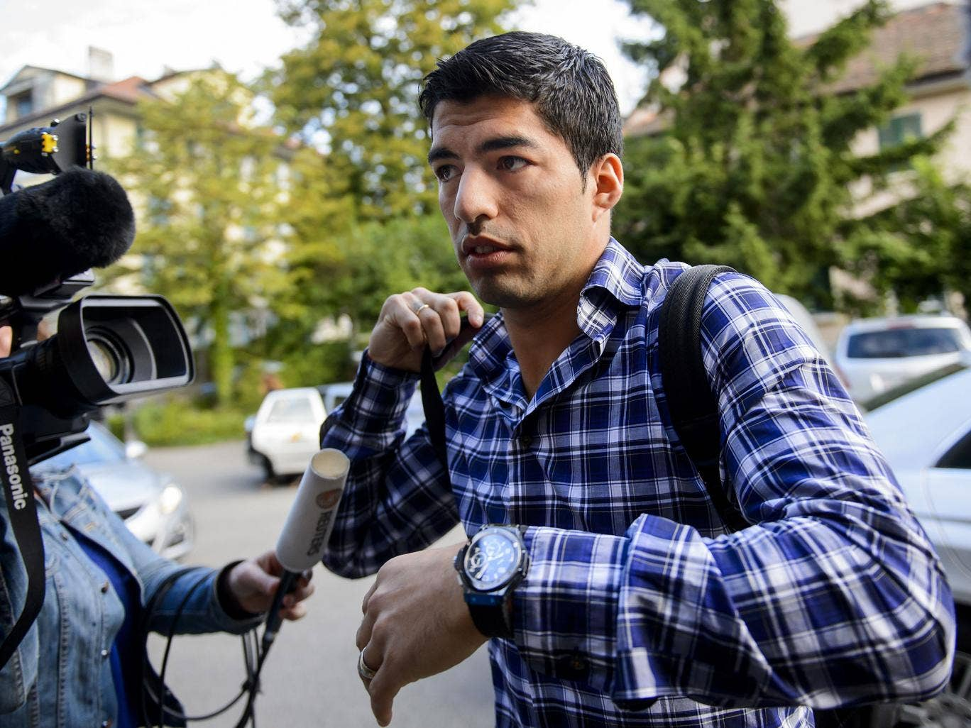 Luis Suarez arrives at the Court of Arbitration for Sport to argue his case over his four-month ban