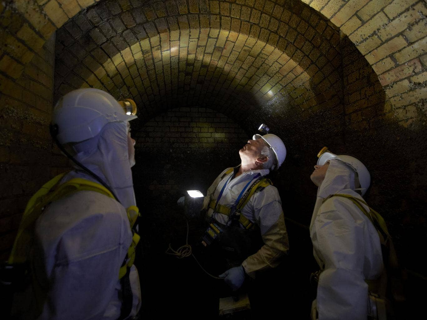 Inside London's Fleet sewer, constructed by Sir Joseph Bazalgette following the 'Great Stink' of 1858