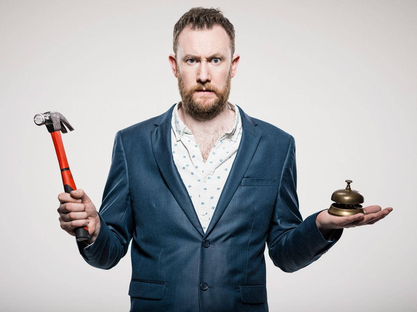 Alex Horne builds an elaborate contraption at the Edinburgh Fringe