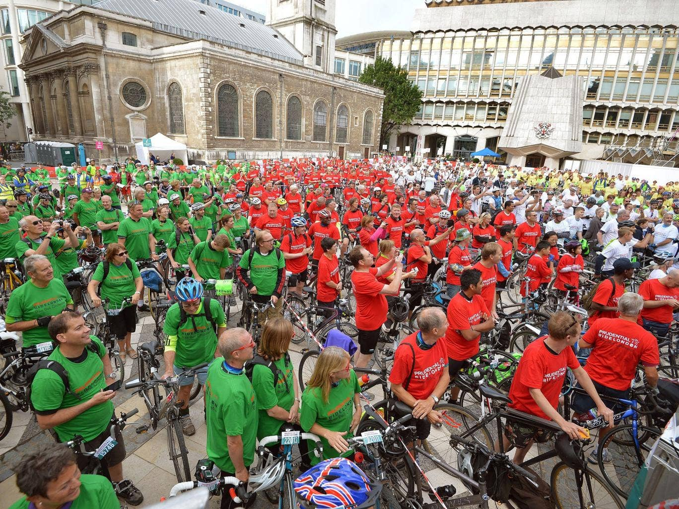 Some of the 639 cyclists bidding for a Guinness World Record for the largest bicycle bell ensemble, in front of the Guildhall in the City of London
