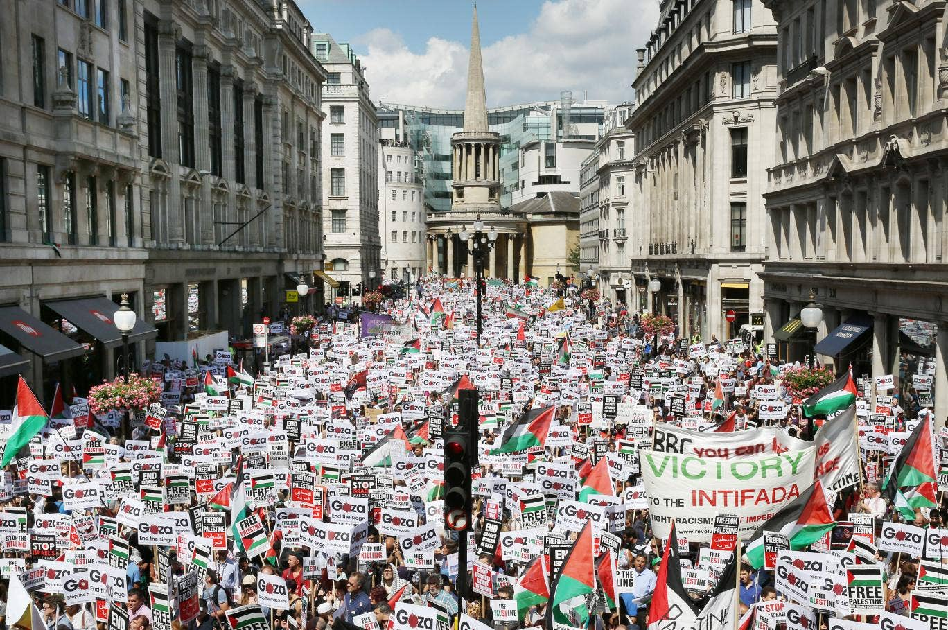 Protesters march down Regent Street on 9 August