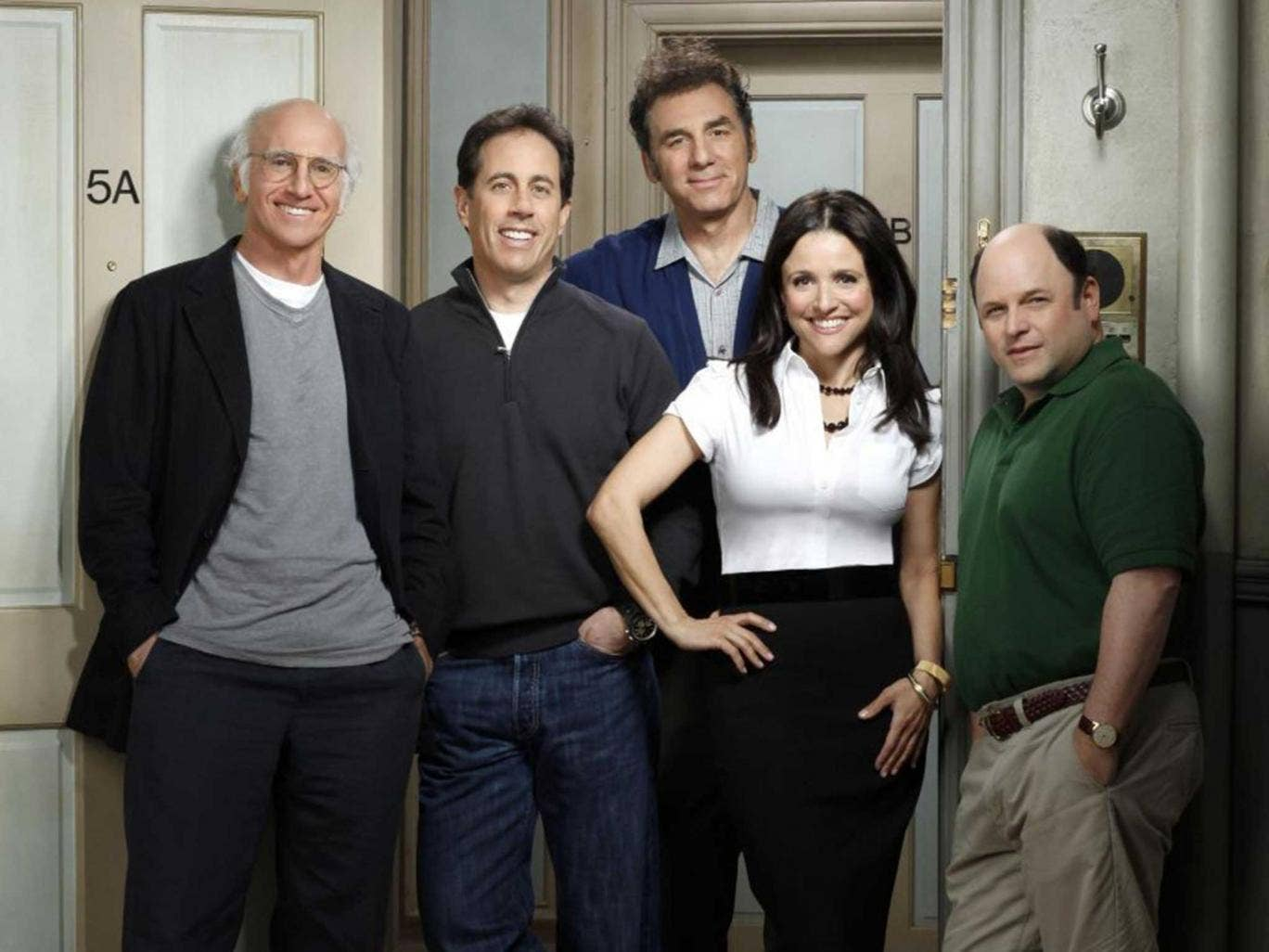 Larry David with the cast of Parks and Recreation