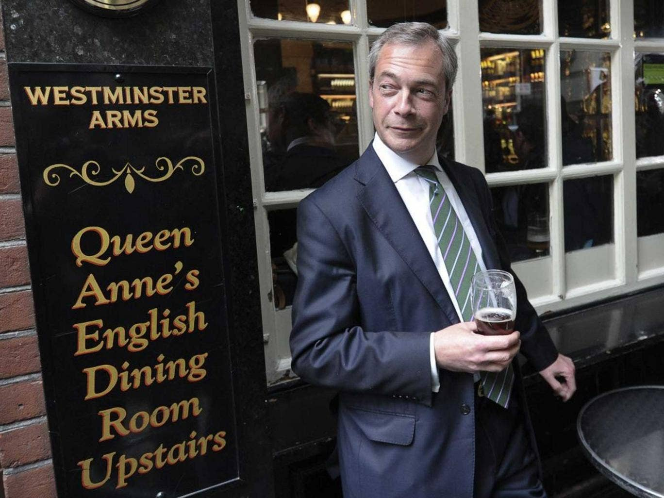 Nigel Farage outside the Westminster Arms