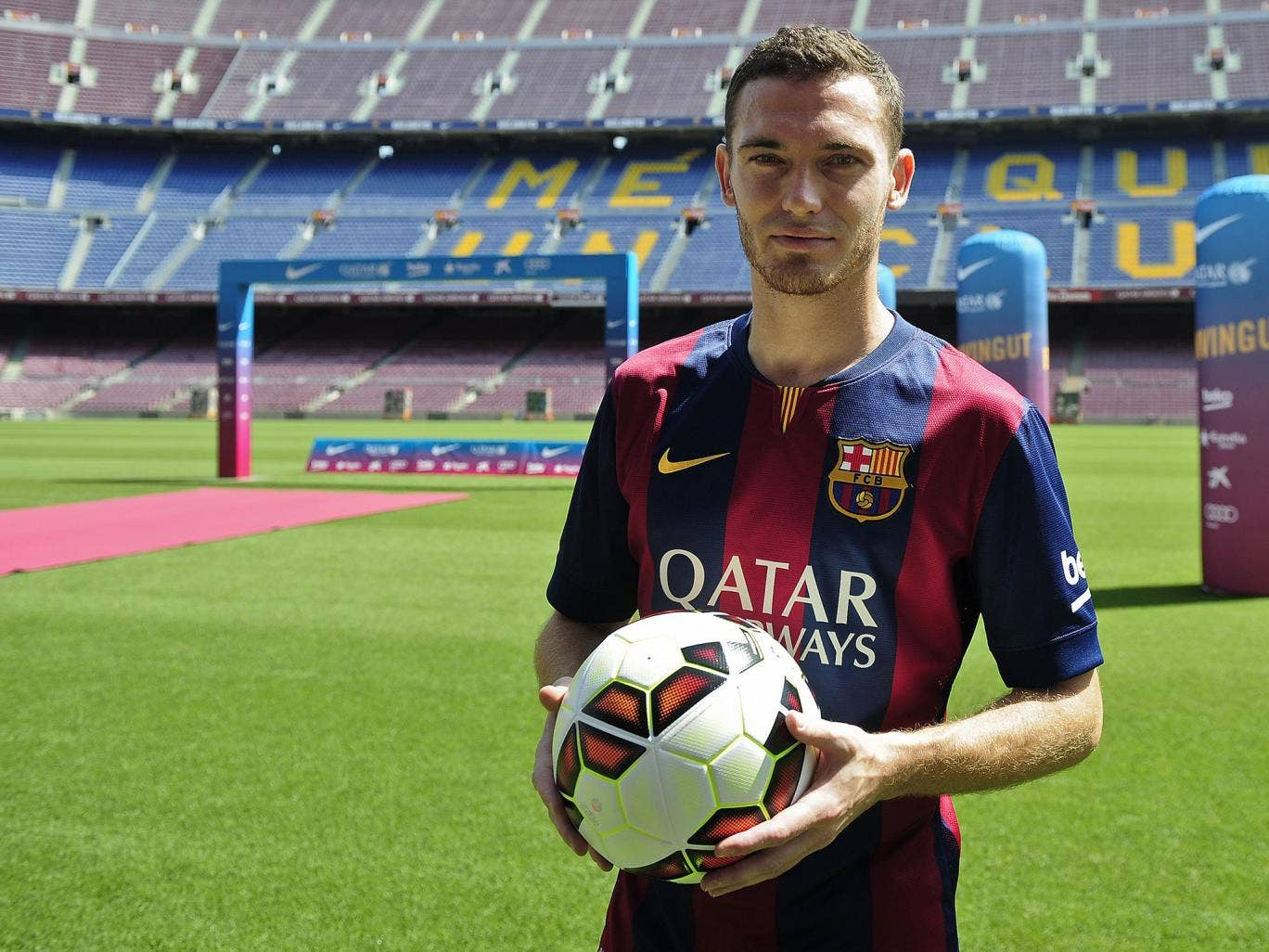 Thomas Vermaelen is unveiled at the Nou Camp