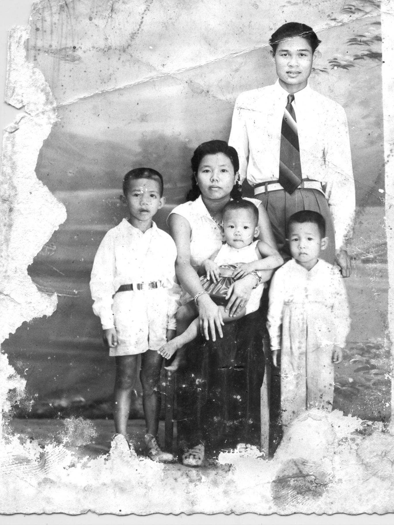 Poch Younly with wife Som Seng Eath and children in 1955