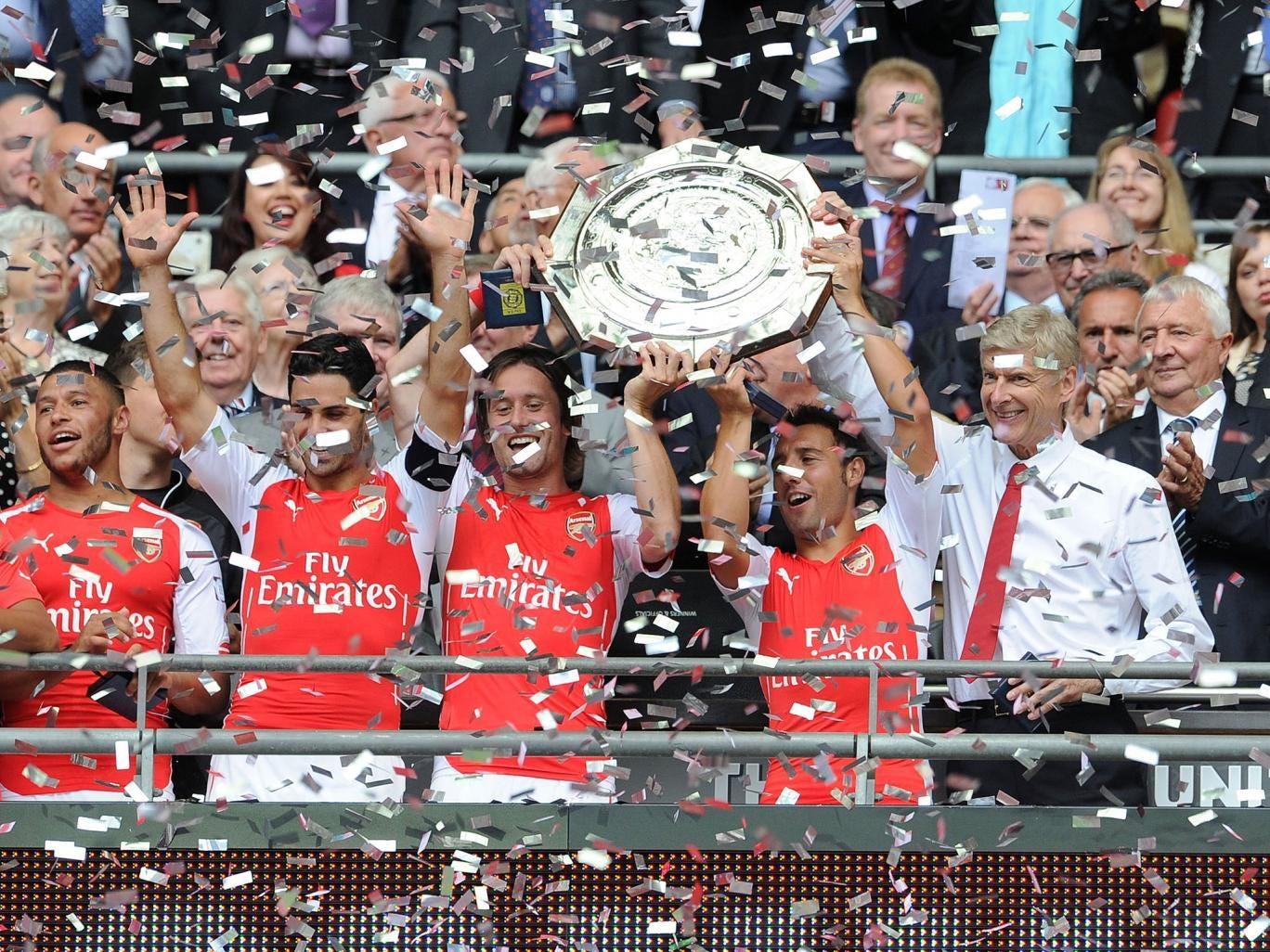 Arsenal lifts the Community Shield after beating Manchester City 3-0 at Wembley