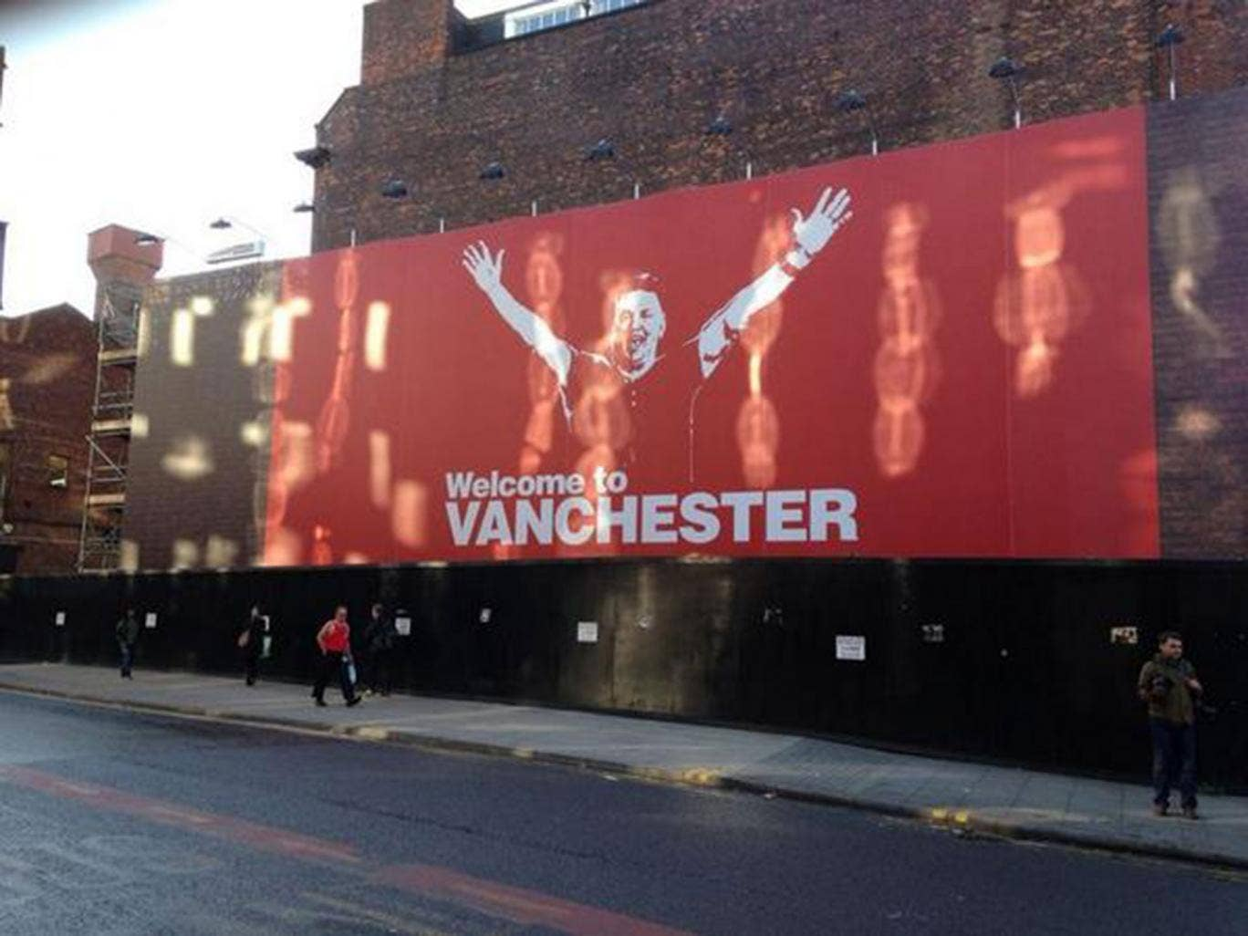 A billboard has appeared in Manchester entitled 'Welcome to Vanchester'