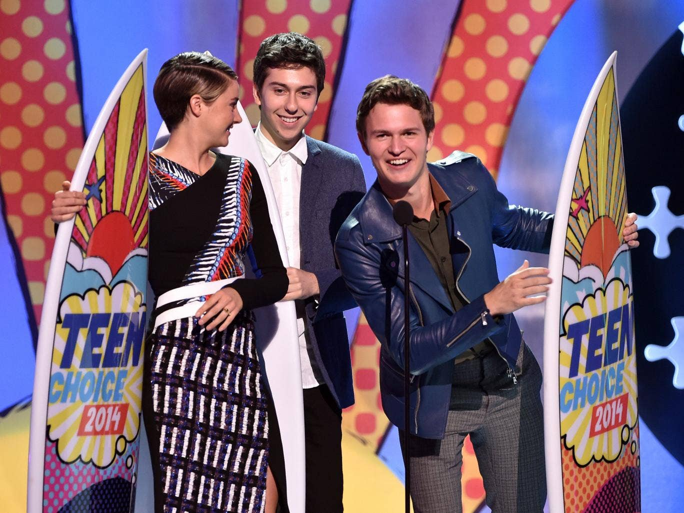 (L-R) Actors Shailene Woodley, Nat Wolff, and Ansel Elgort onstage during FOX's 2014 Teen Choice Awards at The Shrine Auditorium in Los Angeles