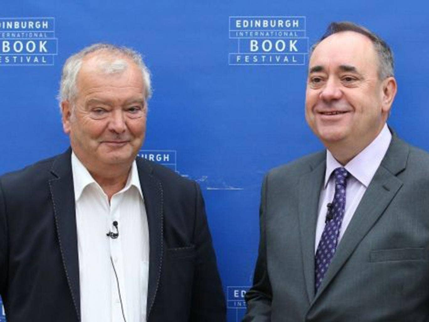 The historian Sir Tom Devine with Alex Salmond at the Edinburgh International Book Festival yesterday. The First Minister said an independent Scotland would continue to use the pound