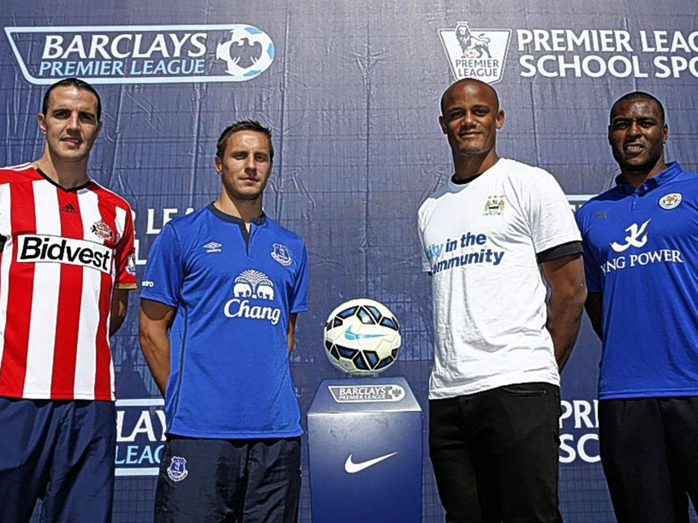John O'Shea, Phil Jagielka, Vincent Kompany and Wes Morgan at the Premier League season launch