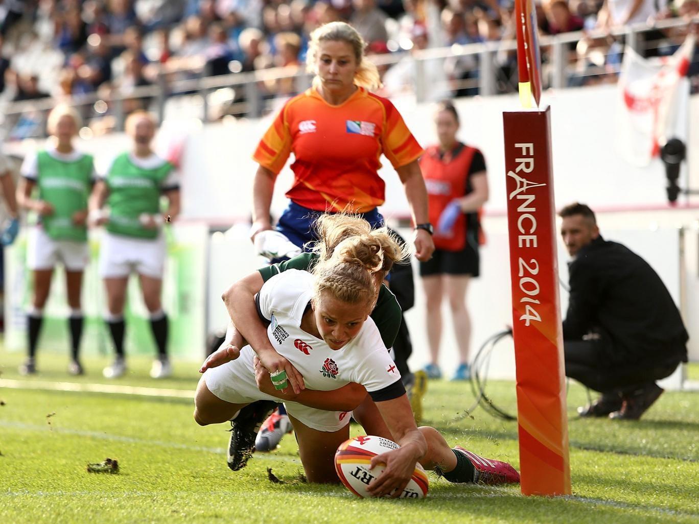 England's Kay Wilson touches down against Ireland