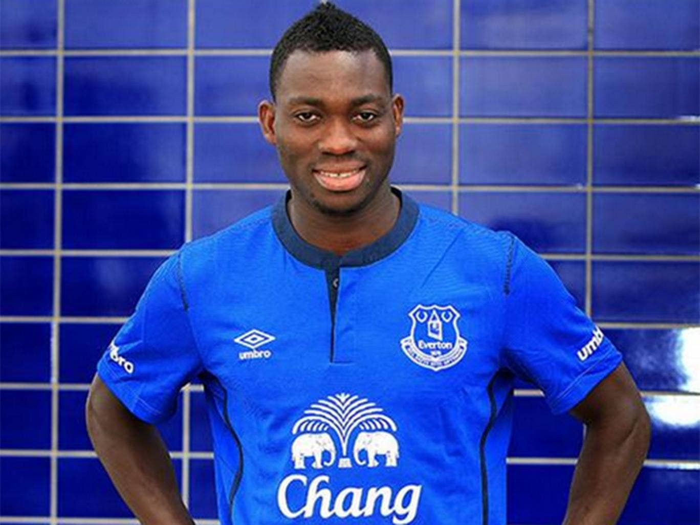 Christian Atsu pictured after completing his loan move to Everton