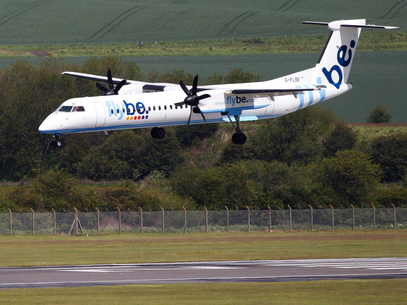 A different Flybe plane is brought down to land