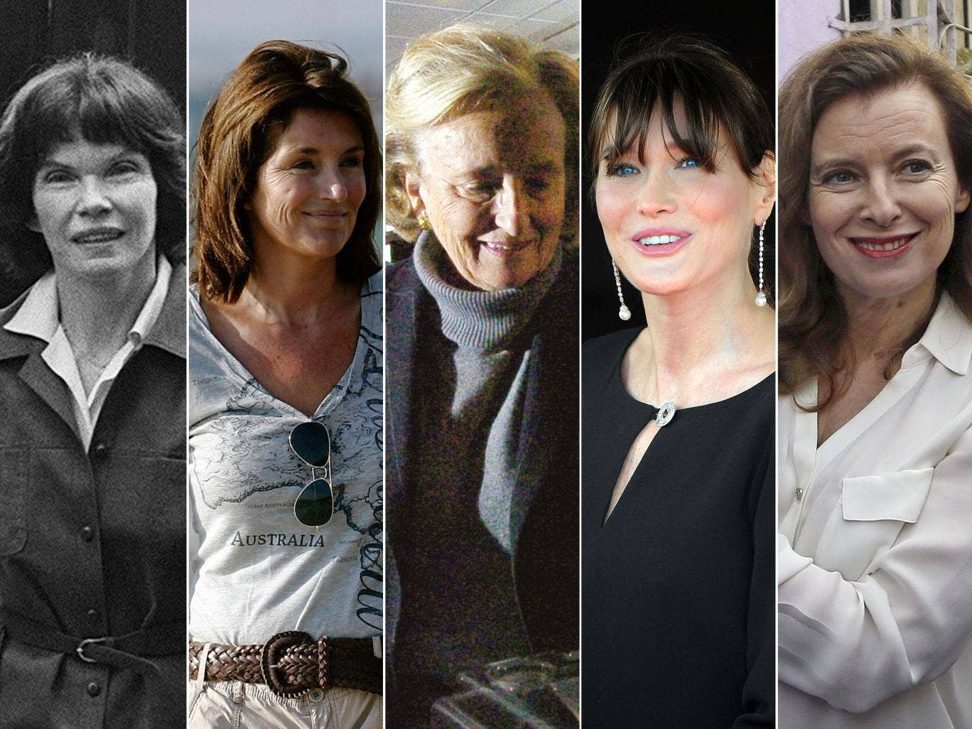 First ladies, from left to right: Danielle Mitterrand, Cecilia Attias, Bernadette Chirac, Carla Bruni-Sarkozy and Valerie Trierweiler