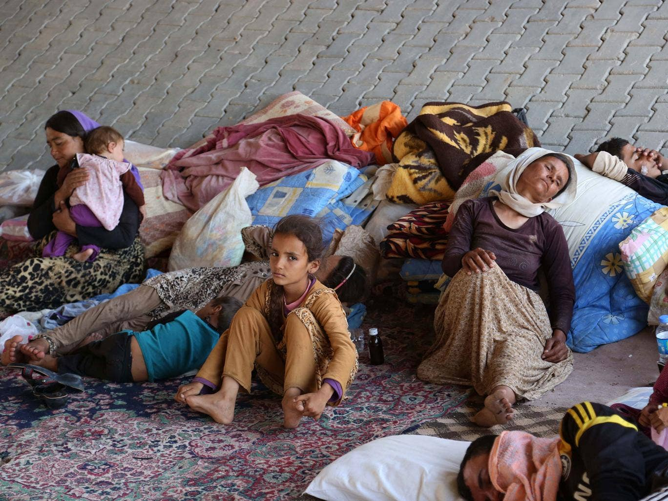 Displaced Iraqis from the Yazidi community settle under a bridge in Dahuk, Iraq