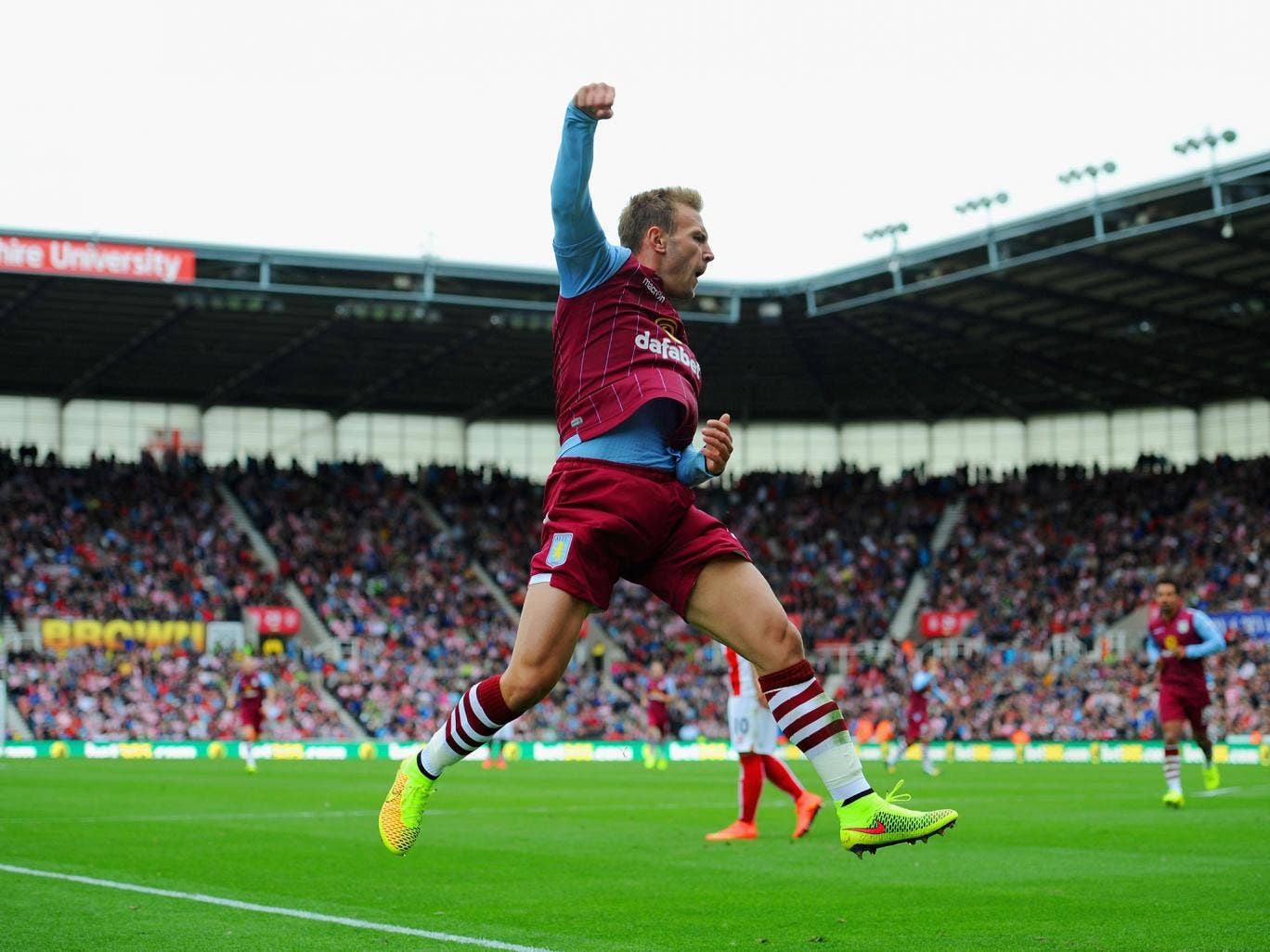 Andreas Weimann celebrates the goal that put Aston Villa into the lead at the Britannia, he fired home from a narrow angle