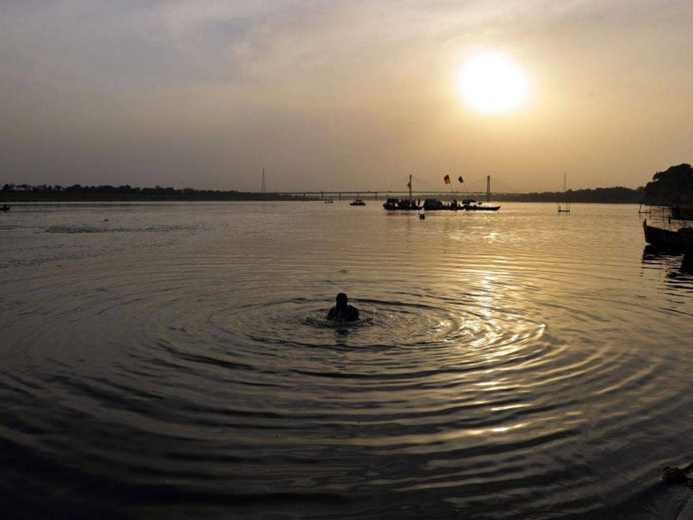 The confluence of the Ganges, Yamuna and mythical Saraswati in Allahabad